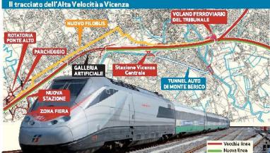 Il tracciato dell'Alta Velocità a Vicenza
